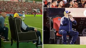 Newell's Old Boys Give Gimnasia Manager Diego Maradona His Own Pitchside Throne