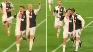 Cristiano Ronaldo Accidentally Kissed Paulo Dybala While Celebrating Juventus Goal