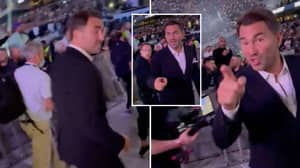 Eddie Hearn Turns Around And Confronts Fan Who Hurled Abuse At Joshua vs Usyk Event