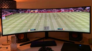 Lad Builds The Ultimate FIFA Setup Using 49-Inch Monitor So He Can See Entire Pitch
