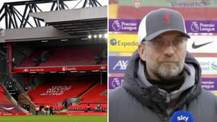 Jurgen Klopp Bemoans Absence Of Fans At Anfield After Six Straight Premier League Home Losses