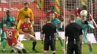 Thiago Alcantara Appears To Duck Out The Way Of Bruno Fernandes' Free-Kick Winner For Manchester United Against Liverpool