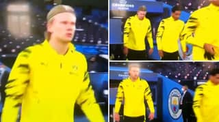 Erling Haaland Made Sure He Walked Around Manchester City's Badge Last Night