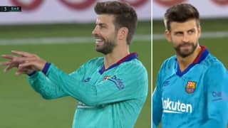 Gerard Pique Makes Controversial VAR Gesture After Lionel Messi's Disallowed Goal Vs Villarreal