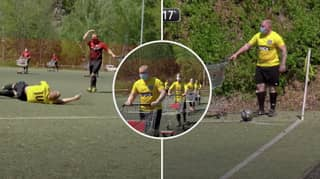German Amateur League Play Socially Distanced Game Of Football With Shopping Trolleys