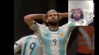 Sergio Aguero's Reaction To Missing A Chance With Himself On FIFA Is Priceless