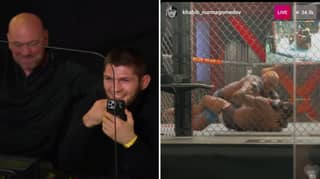 Khabib Nurmagomedov Illegally Streams UFC Main Event Right Next To Dana White And Fans Are In Stitches
