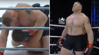 Brock Lesnar's MMA Debut Was So Brutal His Opponent Tapped To Strikes