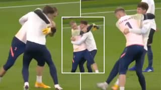 Joe Hart And John Stones 'Wrestle' In Bizarre Exchange Before Tottenham Vs Manchester City