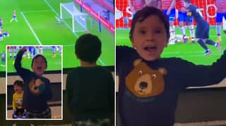 Lionel Messi's Sons Celebrate Dad's Brilliant Free Kick Vs Granada
