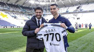 Cristiano Ronaldo Presented With 'GOAT' Shirt By Juventus