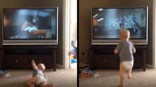 Baby Becomes Rocky Balboa As He Watches Rocky Film