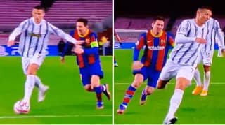Juventus Ace Cristiano Ronaldo Tackles Barcelona Rival Lionel Messi In Champions League Clash