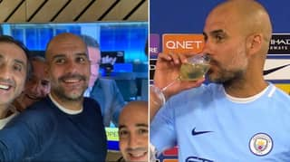 Pep Guardiola And His Staff Celebrate Champions League Ban Being Overturned