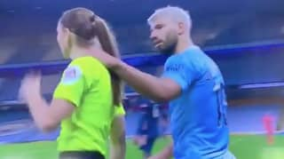 Sergio Aguero Criticised For Putting Hand On Assistant Referee Sian Massey-Ellis