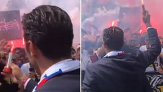 Gianluigi Buffon Lights Flare In Sensational Scenes At PSG Unveiling