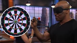 Mike Tyson Shows His Brilliant Darts Technique And Hits Two Bulls While Blindfolded