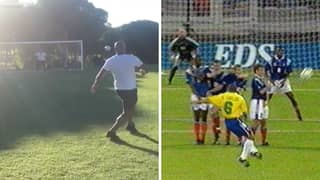 Roberto Carlos Recreates His 'Impossible' Free Kick Against France, 22 Years Later