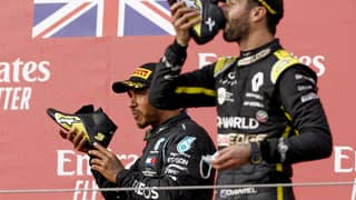 Lewis Hamilton Finally Did A 'Shoey' With Daniel Ricciardo