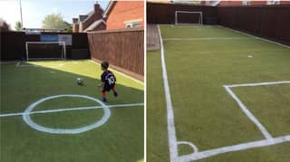 Dad Transforms Back Garden Into Amazing Football Pitch For His Son
