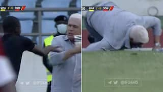 The Shocking Moment Assistant Referee Pushed Manager Over In Ghana Vs Sudan Game