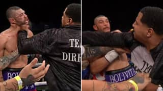 Disgusting Moment Trainer Sucker Punches Boxer At The End Of The Fight