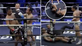 Muay Thai Referee After Stopping KO'd Fighters Head Hitting The Floor