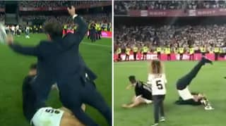 Valencia Defender Gabriel Paulista Two-Foot Tackles His Own Manager After Copa Del Rey Win