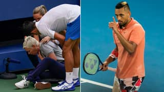 Nick Kyrgios Reacts To Novak Djokovic Hitting A Line Judge In The Throat With Ball