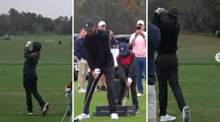 Golf Prodigy Charlie Woods Displays Identical Swing To Dad Tiger Ahead Of This Weekend's PNC Championship