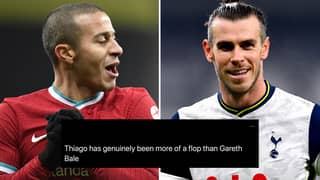 Fans Blast Thiago Alcantara As 'Biggest Flop Of The Premier League Season' Ahead Of Gareth Bale