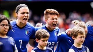 Italy Women's Team Scare The Life Out Of Mascots During Passionate National Anthem