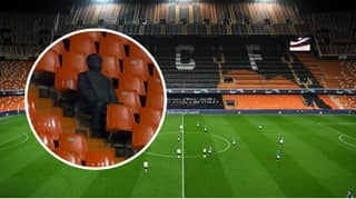 The Only 'Fan' Inside Mestalla For Champions League Clash Between Valencia And Atalanta