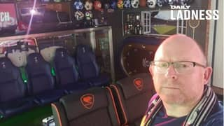 Football Fan Transforms His Garage Into $35,000 Mancave With 14 Screens