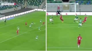 Erling Haaland Smashes Home Incredible Side-Foot Volley For Norway Against Northern Ireland