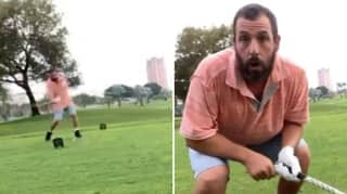 Adam Sandler Recreated Happy Gilmore's Famous Golf Swing On The 25th Anniversary