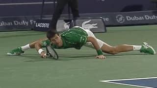Novak Djokovic Plays Ridiculous Return Shot While Doing The Splits