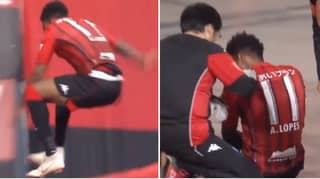 Brazilian Striker Celebrates Goal By Jumping Over Barrier, It Doesn't End Well