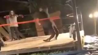 Amateur Wrestler's Legs Snap After Failed Top Rope Jump, Facing Double Amputation