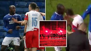 Slavia Prague Ultras Target Rangers Player Glen Kamara With Vile Racist Banner