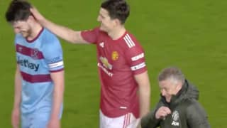 Manchester United Fans Spotted Harry Maguire And Ole Gunnar Solskjaer With Declan Rice At Full-Time