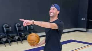 Daniel Ricciardo Nails Half-Court Shot At Phoenix Suns Training Facility