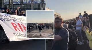 Fans Gather Outside Leeds Vs Liverpool In Mass Protest Against Super League