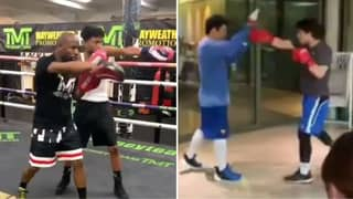 Floyd Mayweather And Manny Pacquiao Teach Their Sons How To Box