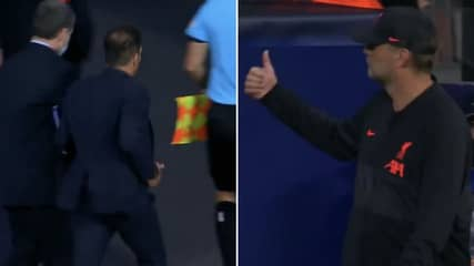 Jurgen Klopp's Reaction To Diego Simeone Storming Down The Tunnel Is Priceless