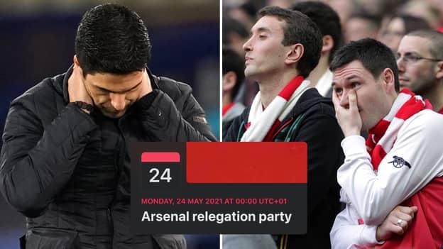 Fan Sets Up 'Arsenal Relegation Party' On Facebook After Gunners' Shocking Premier League Start