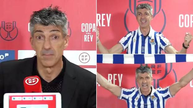 Real Sociedad Manager Imanol Alguacil Entered 'Supporter Mode' And Sang In Club Shirt During Press Conference