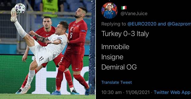 Fan Freakishly Predicts Exact Italy vs Turkey Scoreline And Scorers 10 Hours Before Kick-Off
