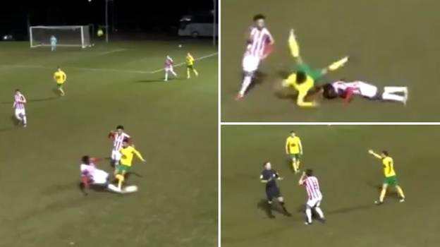 A Slide Tackle In Premier League U23 Match Is Causing Huge Debate Online After Referee Gives Yellow Card