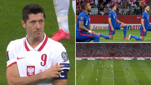 Robert Lewandowski Pointed To 'Respect' As England Players Were Booed Taking The Knee